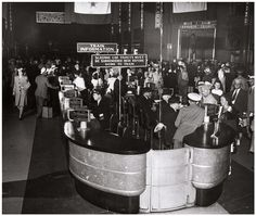 The Conductor's Visa in the train concourse of #UnionTerminal was typically a place to get information about #trains that were arriving or departing the #station.  During the war, this counter was very busy ensuring every person, family, or unit traveling through the station knew when their train was going to leave. #trainstation #CincyMuseum #1940s #WWII