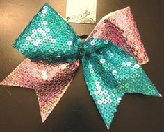 """""""Candy"""" Pink and Teal Sequin Tick-Tock Cheer Bow"""