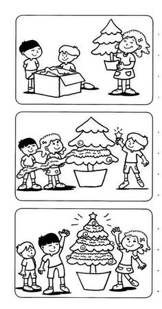 Sequencing Pictures, Story Sequencing, Sequencing Activities, Preschool Worksheets, Christmas Cards Drawing, Diy Christmas Cards, Christmas Worksheets, Christmas Activities, Christmas Handprint Crafts