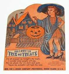 "1940/50s Rosen ~ Halloween Lollipop Candy Card Holder  Cardboard candy holder was made by Rosen of Rhode Island in the 1940/50s. It features a little girl ""all dressed up"" for Halloween."