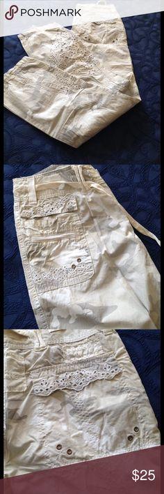 DA-NANG COTTON CAMO FATIGUES EYELET DETAIL SZ S Drawstrings at cuffs, metal and eyelet detail, great detail, never worn, grays, khakis, white DA-NANG Pants Track Pants & Joggers