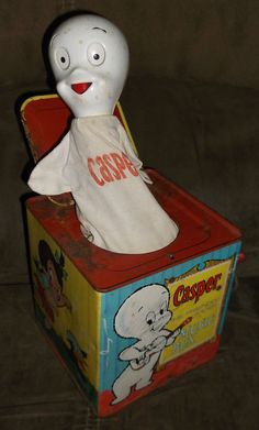 """Vintage 1959 Mattel """"CASPER - the Friendly Ghost"""" jack in the box . 60s Toys, Doll Toys, Dolls, Pop Goes The Weasel, Casper The Friendly Ghost, Jack In The Box, My Memory, Vintage Halloween, Halloween Ideas"""