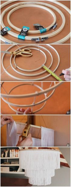DIY boho fringe chandelier - I've been seeing DIY chandelier and light fixtures all over Pinterest so I finally decided to dive and (hopefully) make a tad bit more simplified version of what I have seen out there. I love how this came out and cannot wait to create different versions. You can do this chandelier in any color, more layers, less layers, different metallics, lights or no lights. The possibilities are endless.