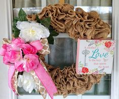 Items similar to Mother's Day Wreath for Front Door, Valentines Wreath, Everyday Wreath for Front Door on Etsy Burlap Wreaths For Front Door, Sunflower Burlap Wreaths, Summer Door Wreaths, Holiday Wreaths, Floral Wreaths, Mothers Day Decor, Mothers Day Wreath, Valentine Day Wreaths, Valentines