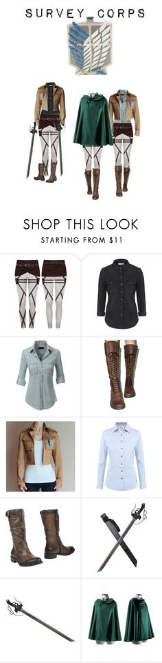 """Attack on titan; Survey Corps"" by sweetdreamer13 ❤ liked on Polyvore featuring Topshop, LE3NO, ROC Boots, DUBARRY, MJUS, anime and 2016"