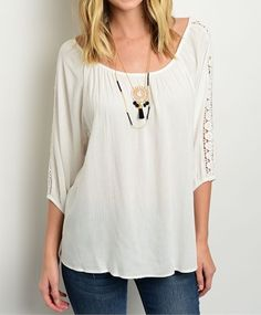 ObsessedToDress.com - Relaxed Fit Top with Crochet Details -White, $17.99