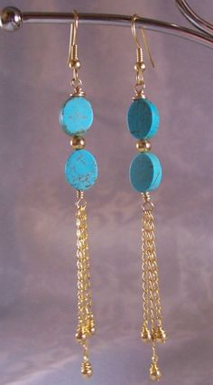 Turquoise Gold Chain Earrings by beadifulexpressions on Etsy, Chain Earrings, Beaded Earrings, Earrings Handmade, Handmade Jewelry, Beaded Bracelets, Gold Necklace, Wire Jewelry, Jewelry Crafts, Beaded Jewelry