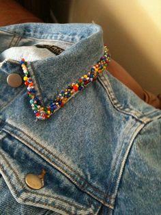 jacket Collar - Beaded jean jacket Collar Source by jean jacket Collar - Beaded jean jacket Collar Source by Mini irridescent/multi-colored tassels embellished BoHo Diy Clothing, Custom Clothes, Jean Jacket Outfits, Jacket Jeans, Painted Jeans, Mode Jeans, Embroidered Clothes, Diy Embroidered Jeans, Denim Fashion