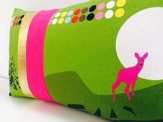 "Decorative Pillow Cover 13"" x 23"" Lumbar Throw Cushion Modern Chartreuse Green Hot Pink Deer Nordic Graphic Motif"