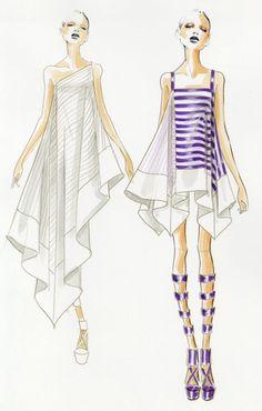 Stripes Dresses fashion illustration sketch