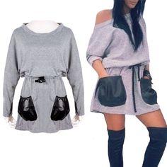 Женские кожаные карман топы off плечи футболка туника с длинными рукавами платьекупить в магазине My style 1314наAliExpress