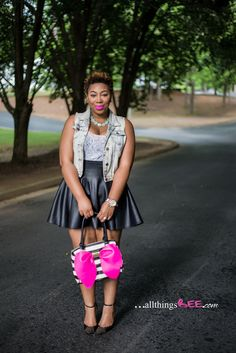 """Necklace: F21 White Top: H&M (2 years old) Denim Vest: F21 Skater Skirt: ASOS Curve (sold out but they always restock. Keep an eye out!) Shoes: """"Grette"""" JustFab.com HandBag: Betsy Johnson purchased..."""