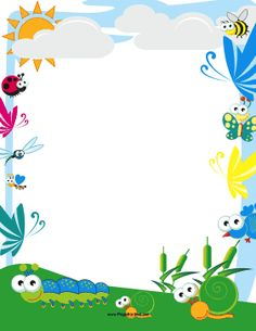 Cute bees, birds and butterflies fly through the clouds over crawling caterpillars and happy snails. Free to download and print.