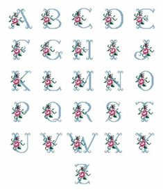 This Pin was discovered by Yur Cross Stitch Alphabet Patterns, Cross Stitch Letters, Cross Stitch Art, Cross Stitch Flowers, Cross Stitch Designs, Cross Stitching, Stitch Patterns, Hand Embroidery Designs, Diy Embroidery