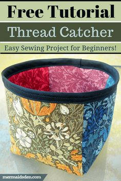 I'll show you how to make an easy thread catcher to hold all of your thread tails. This post contains a free pattern and tutorial for a thread catcher. Easy Sewing Projects, Sewing Projects For Beginners, Sewing Hacks, Sewing Tutorials, Sewing Tips, Sewing Ideas, Sewing Crafts, Dress Tutorials, Fat Quarter Projects