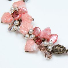 Peach Beaded Necklace Flower Necklace by CherylParrottJewelry, $61.95