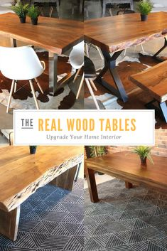 Find tables made of natural wood or marble for your living room, dining room or other living spaces. We also carry reclaimed wood tables and cement tables. Dining Area, Dining Table, Cement Table, Live Edge Wood, Wood Tables, Acacia Wood, Real Wood, Coffee Tables, Woodworking Plans