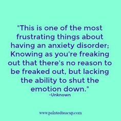 This is one of the most frustrating things about having an anxiety disorder; Knowing as you're freaking out that there's no reason to be freaked out