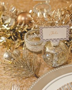 Glam Holiday Party or silver theme room décor - easy glitter rimmed votives