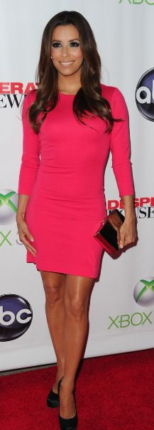 Eva Longoria wearing Ann Taylor's dress and Brian Atwood's shoes -Love the color