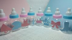 Choose design! Gender reveal themed baby bottles party favors fill with mints candy baby shower boots bows tutus bow ties prince princess he or she pink or blue helmets or pom poms team blu or team pink staches or lashes guns or glitter tractors or tiaras new baby new mommy nursery