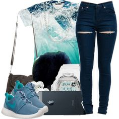 ocean blue. ♥, created by msyorkieluver on Polyvore