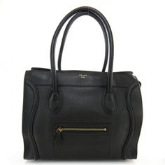 This is an authentic CELINE Smooth Leather Shoulder Luggage Black. .