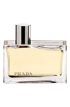 This hypnotic amber scent is a modern classic that intertwines memory, reality and possibility. Made from pure essential oils this long lasting scent is distinctive, intimate and sumptuous. The fragrance comes in a modern sleek solid glass bottle symbolizing the future.  By Prada; made in Spain.