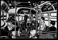 Bus linogravure Geraldine Theurot