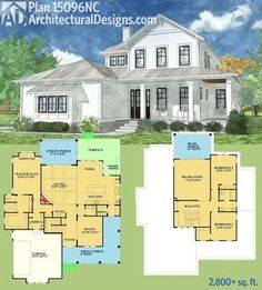 Architectural Designs House Plan 15096NC. This coastal cottage gives you 3 beds and 3 baths and over 2,800 square feet of living area. Ready when you are. Where do YOU want to build?