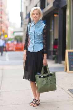 Anmari in an American Apparel lace bodysuit with vintage top and skirt #streetstyle