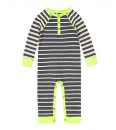 Take a look at this Neon Yellow Stripe Playsuit - Infant by RUUM on today! Toddler Boy Fashion, Little Boy Fashion, Toddler Boys, Kids Fashion, Baby Boys, Clothing Subscription Boxes, Striped Playsuit, Mix Match Outfits, Baby Gallery