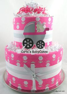Girl diaper cake   Baby shower gift   Baby sprinkle gift   Girl baby shower decoration   Baby diaper cake   Unique baby gift   New mom gift by MsCarlasBabyCakes on Etsy