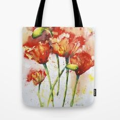 """A brand new """"Orange Poppies Tote Bag""""...based on my original watercolor. A versatile and uniquely functional bag for school, shopping, library, beach or just to carry all your important stuff! Made of a durable poly poplin fabric, with a 1"""" strong strap."""