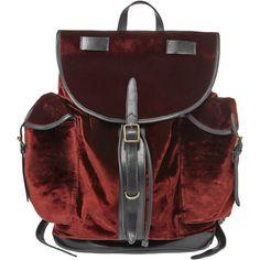 Dries Van Noten Velvet Back Pack ($1,480) ❤ liked on Polyvore featuring bags, backpacks, velvet bag, knapsack bag, draw string bag, dries van noten bag and red drawstring bag