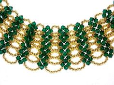 Gold and Green Beaded Choker Necklace Seed Beads by hobitique, $45.00