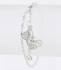 Beautiful bracelet designed on a dual, silver-tone Belcher chain decorated with a feline-shaped, crystal-studded charm...