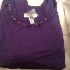 NWT Women's 5X Cotton Quarter Length Dark Purple women's 5x , cotton Quarter length sleeve top , nice for summer ! NWT ! Chelsea Studio Tops