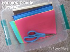 """Several great ideas for """"Toddler Boxes,"""" each with a toddler-friendly, skill-building activity."""