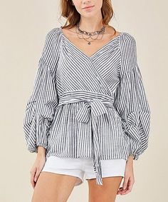 This Black & White Stripe Tie-Accent Top is perfect! #zulilyfinds