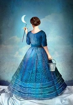 Woman painting the moon