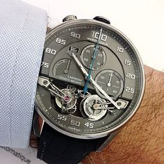 The TAG Heuer MikroPendulumS Tourbillon is a double tourbillon capable of 1/ 100th second accuracy contained in a Bullhead case made in chrome-cobalt reminiscent of the Mikrogirder 10,000.