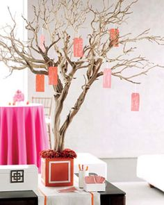 I want to hang the place cards from a tree! Megan - get a really big branch from one of Mom's trees!