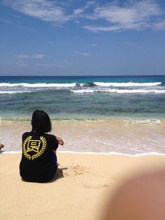 My Wife at Base-G Beach, Jayapura Papua