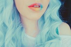 pale blue hair and lovely lips
