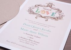 Modern vintage wedding invitation from sussexandsurreyinvitations.co.uk
