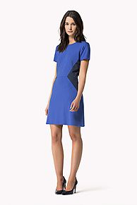 Come and read about the latest Tommy Hilfiger collections and choose your favorite line! Short Sleeves, Short Sleeve Dresses, Sophisticated Dress, Flattering Dresses, Thighs, Tommy Hilfiger, Crew Neck, Dresses For Work, Zip