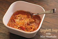 Blog post at So Easy Being Green : This recipe for Spaghetti Soup with Mini Meatballs