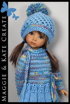 """** Blue Winter ** Outfit for Little Darlings Effner 13"""" by Maggie & Kate Create"""