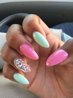 Pink and mint stiletto nails